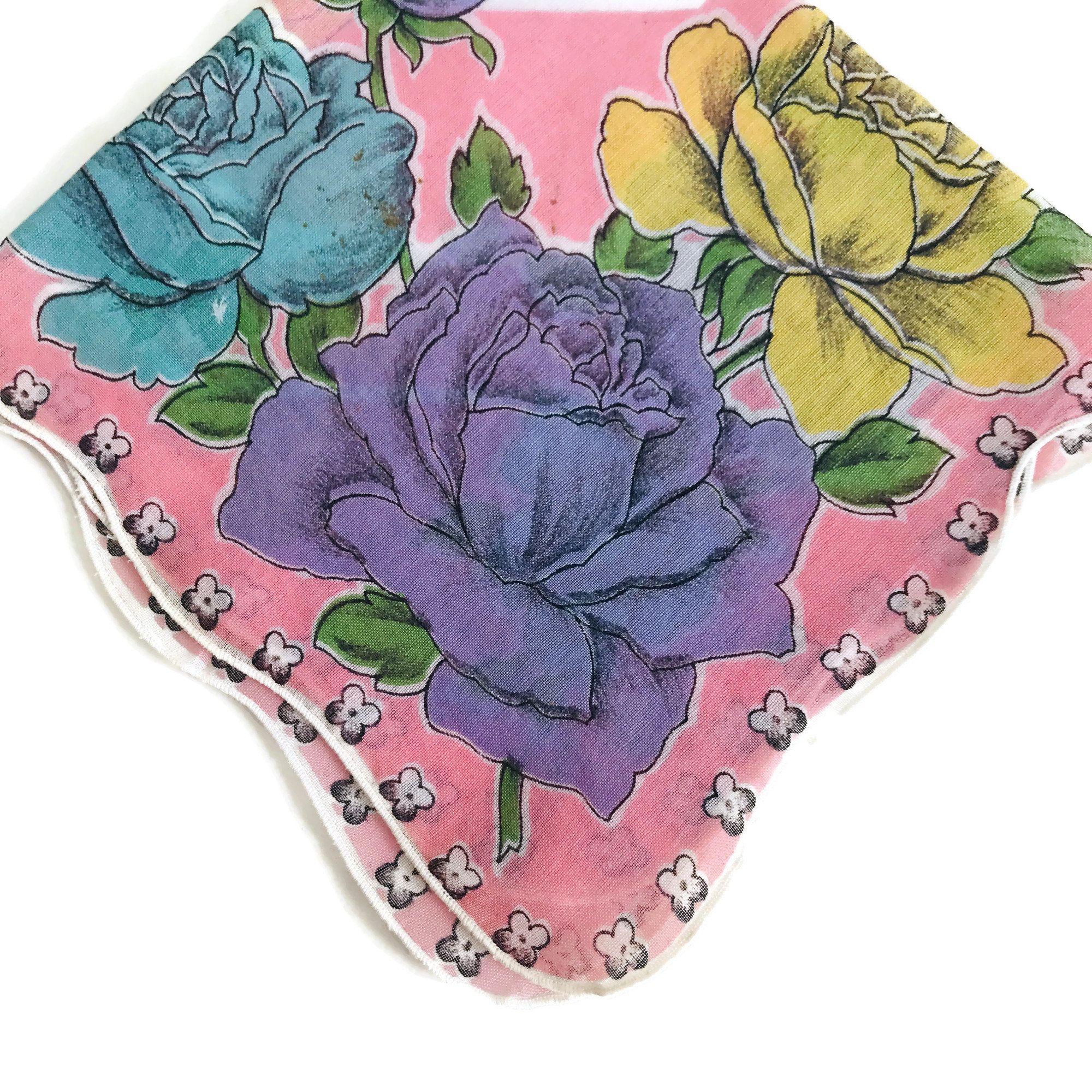 Repurpose Handkerchief Vintage Floral Cotton Hankie Hankie Chic Scalloped Edges Yellow Purple Blue Pink with Big Roses