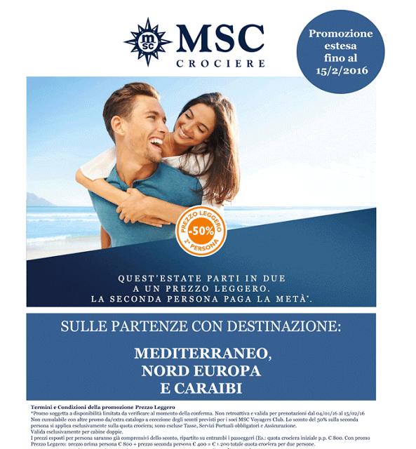 JLAND TRAVEL: MSC PREZZO LEGGERO, LA SECONDA PERSONA PAGA LA MET...