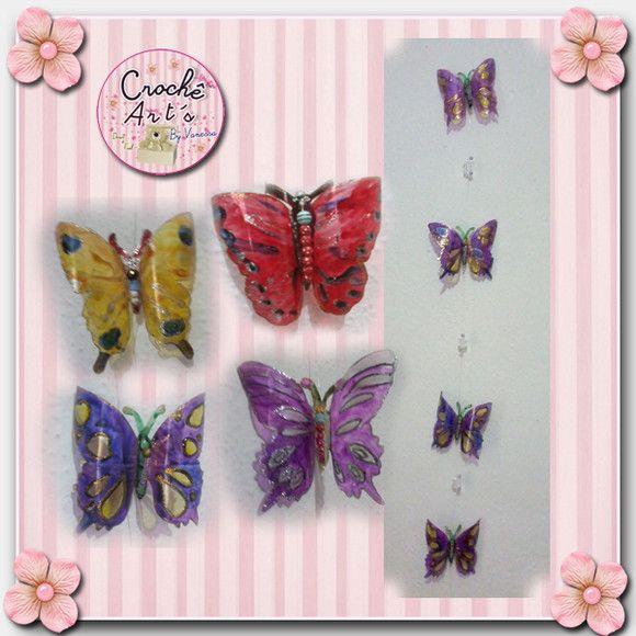 Enfeite para Cortina de Borboletas: Nossas borboletas são feitas com garrafas pet em diversos modelos e cores, pingentes coloridos. No enfeite vão 4 borboletas de cores variadas ou da mesma cor.  *Cores disponíveis: roxo, verde e rosa. ** Outras cores sob encomenda. R$18,00