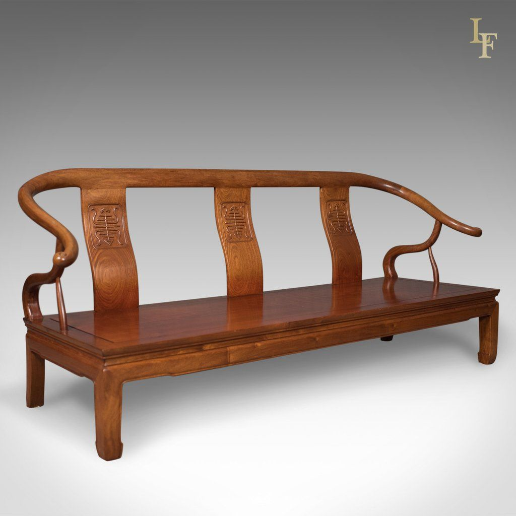 Chinese Rosewood 3 Seater Bench In Traditional Form Dating To Late