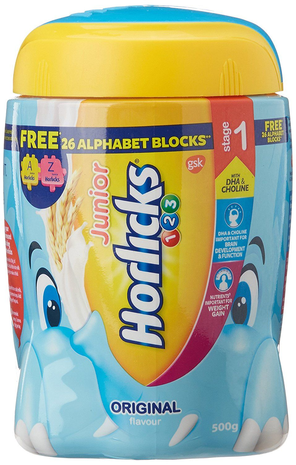 Junior Horlicks Stage 1 Health And Nutrition Drink 500 G Original With Free 26 Alphabets Blocks The Bigges Horlicks Nutrition Drinks Health And Nutrition