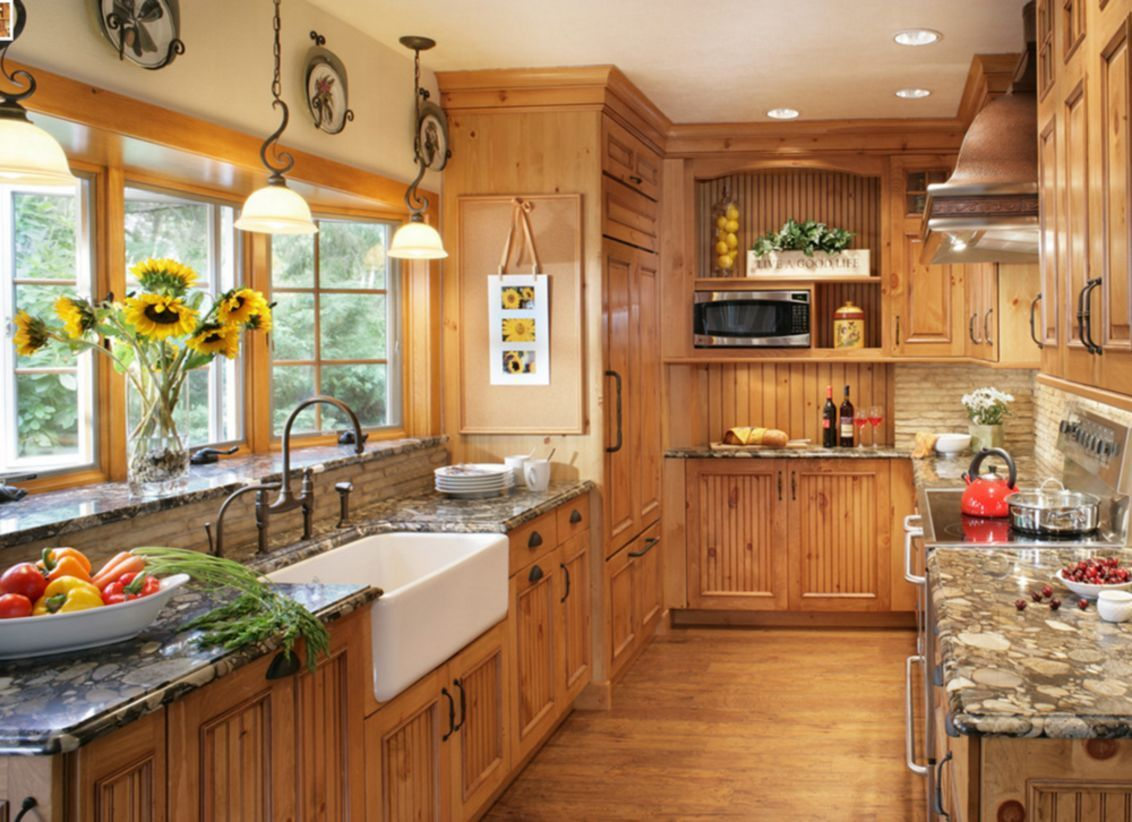 55 Simple Rural Farmhouse Barn Wood Kitchen Ideas | Pine ...