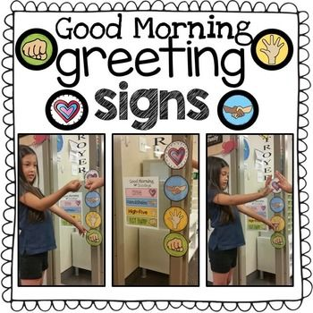 94315ce8e607 These colorful signs help you greet students at your classroom door each  morning. Students point to their greeting of choice as they enter the  classroom.