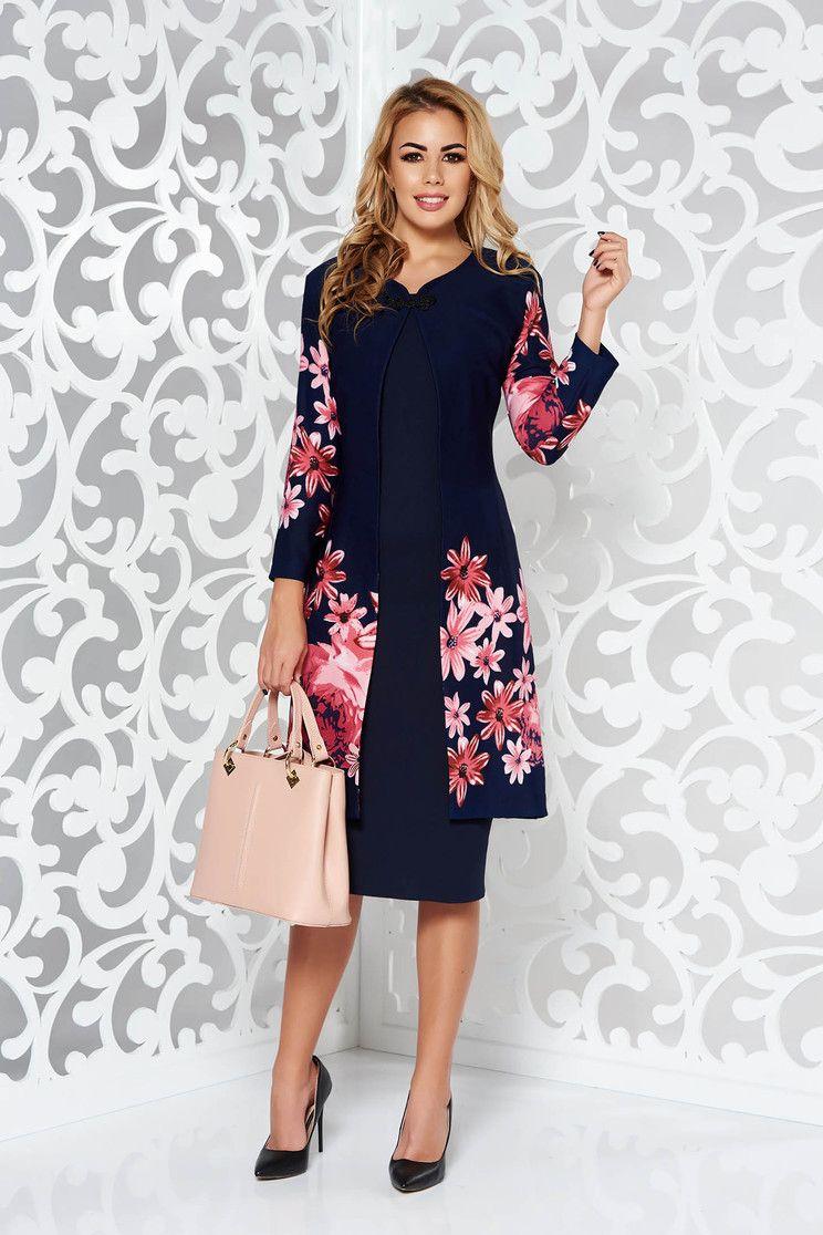 9af06a7ba8 Sötétkék női kosztüm elegáns enyhén rugalmas anyag virágmintás díszítéssel.  Egyszeru, sima ceruza ruhabol es
