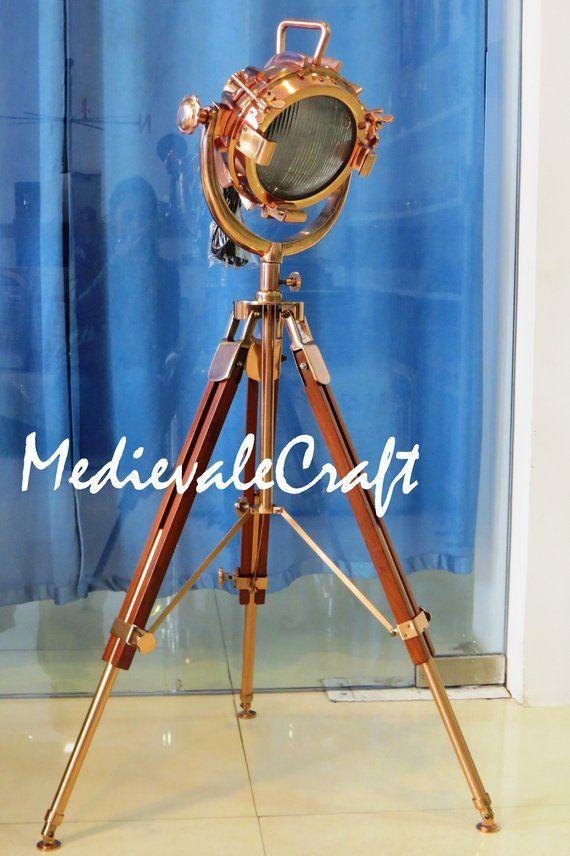 Lamps Marine Antique Royal Vintage Designer Spot Light Searchlight Tripod Stand