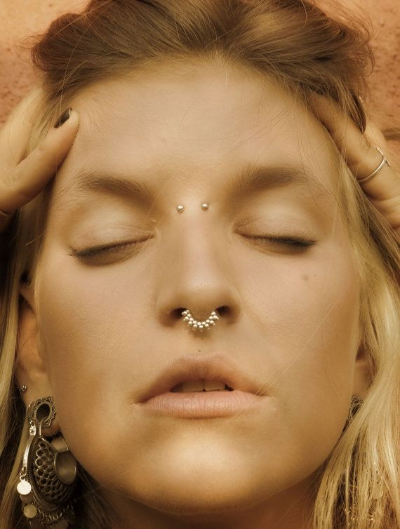 Tribal Septum Ring Gold Septum Jewelry 24K Gold Nose Ring For