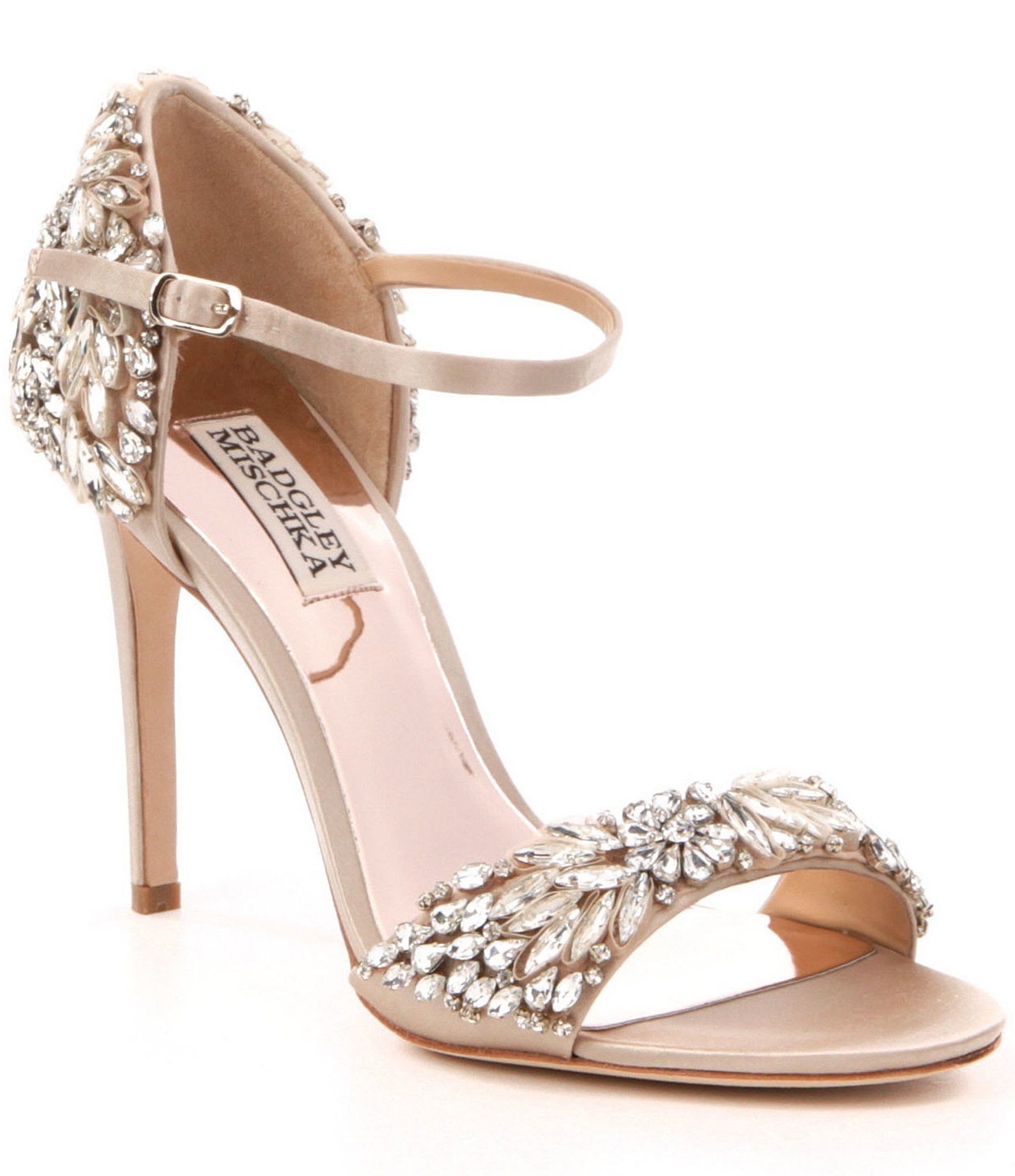 Badgley Mischka Tampa Jeweled Satin Dress Sandals Manolo Blahnik