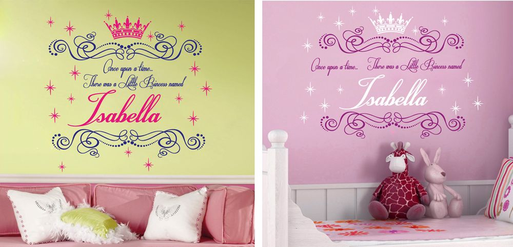 Once Upon A Time ... 2-Color Name Princess Girl Vinyl Wall Decals ...