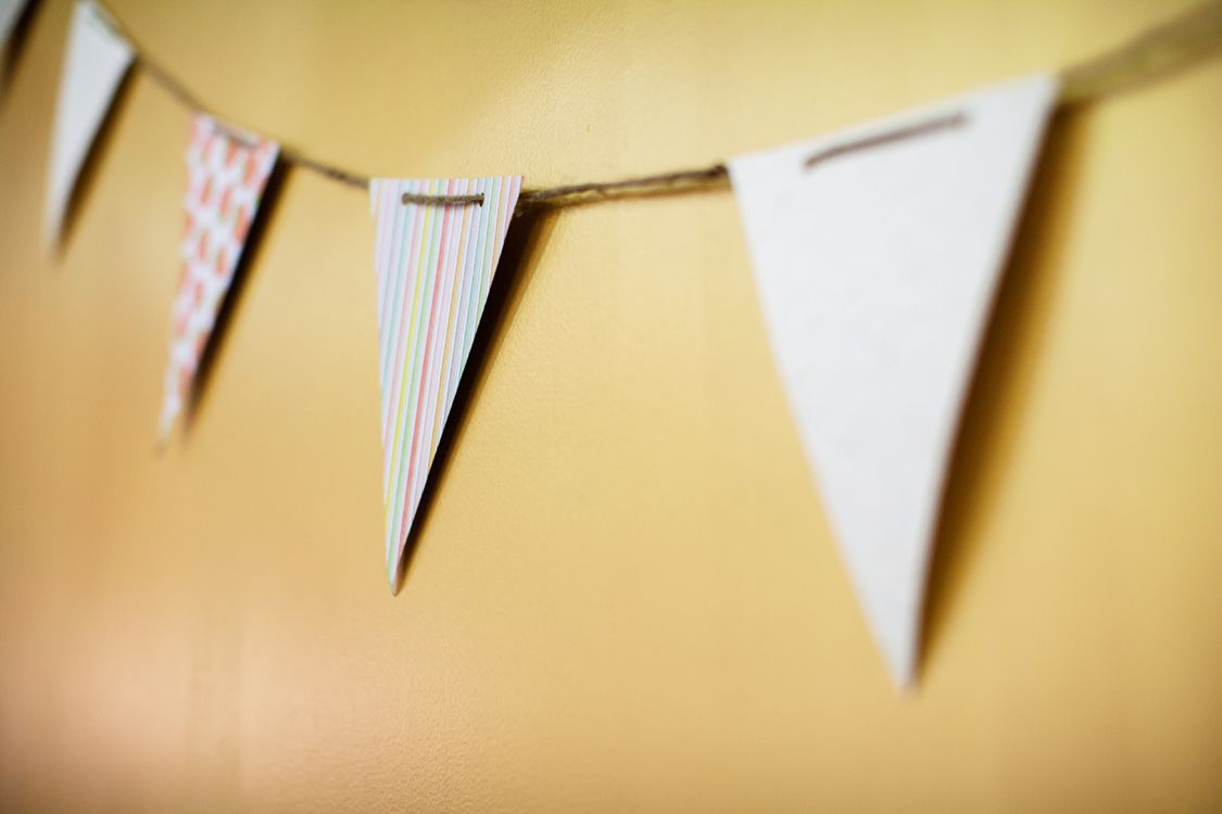 DIY Wedding decor.  Paper Pennants.
