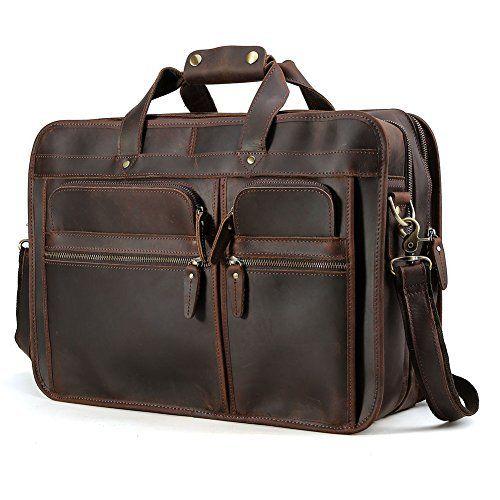 47cfe1cf32eb ... Amazon.com KomalC 16 Inch Retro Buffalo Hunter Vintage Leather Laptop  Messenger Bag Office Briefcase ...