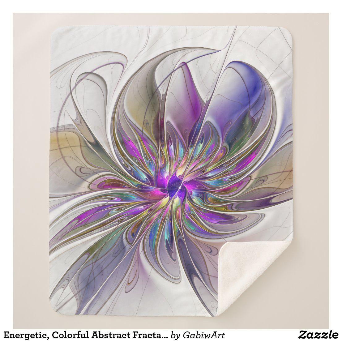 Energetic Colorful Abstract Fractal Art Flower Sherpa Blanket Zazzle Com In 2021 Fractal Art Flower Prints Art Flower Art