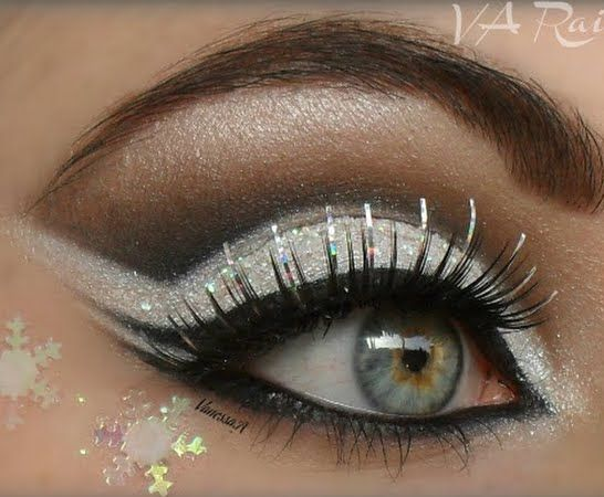 Gorgeous White Ice Queen Eye Makeup With Sparkling Silver Details