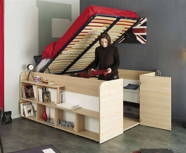 small space storage solution this bed has plenty of storage space