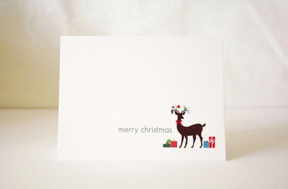 Christmas Card / Reindeer Card / Cute by OwlandOakToronto on Etsy