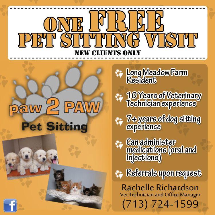 One free pet sitting visit! | Paw To Paw | Pet sitting