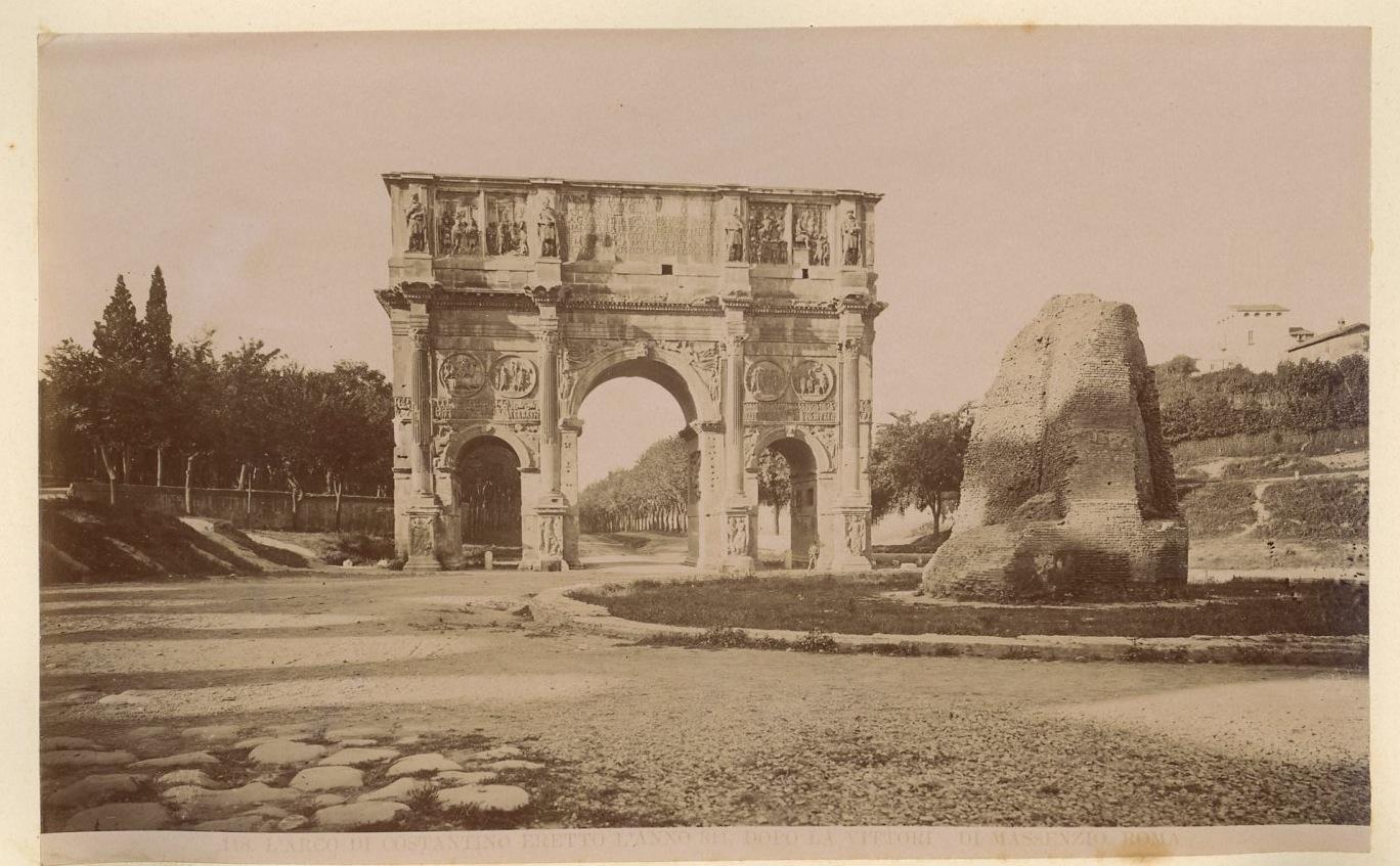 Arco di Costantino Vintage Albumen Print Tirage albuminé 13x18 Circa 1885