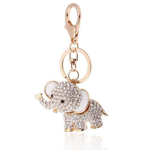 Keyring Handbag Charm Elephant Pendant Rhinestone Crystal Purse  Keychain