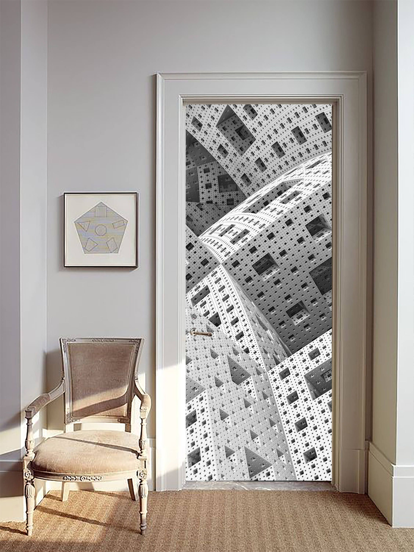 Removable Wallpaper Mural Peel & Stick Door Sticker Futuristic by