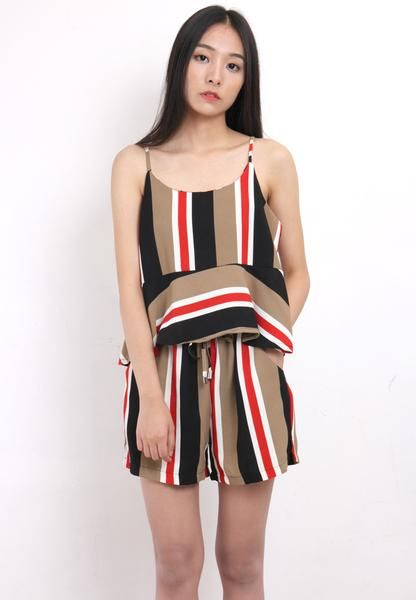 364fe52310 Striped Chiffon Vest + Shorts Co-Ords | - Drive Store Online ...
