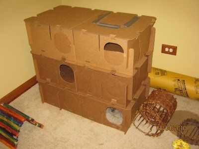 Homemade three story cardboard rabbit playhouse.