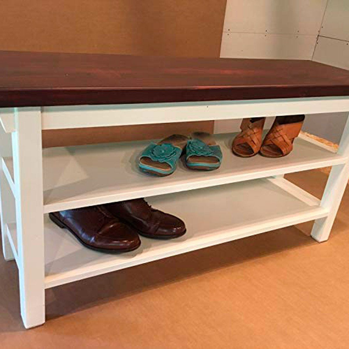 the best shoe storage bench for your entryway | garage organization