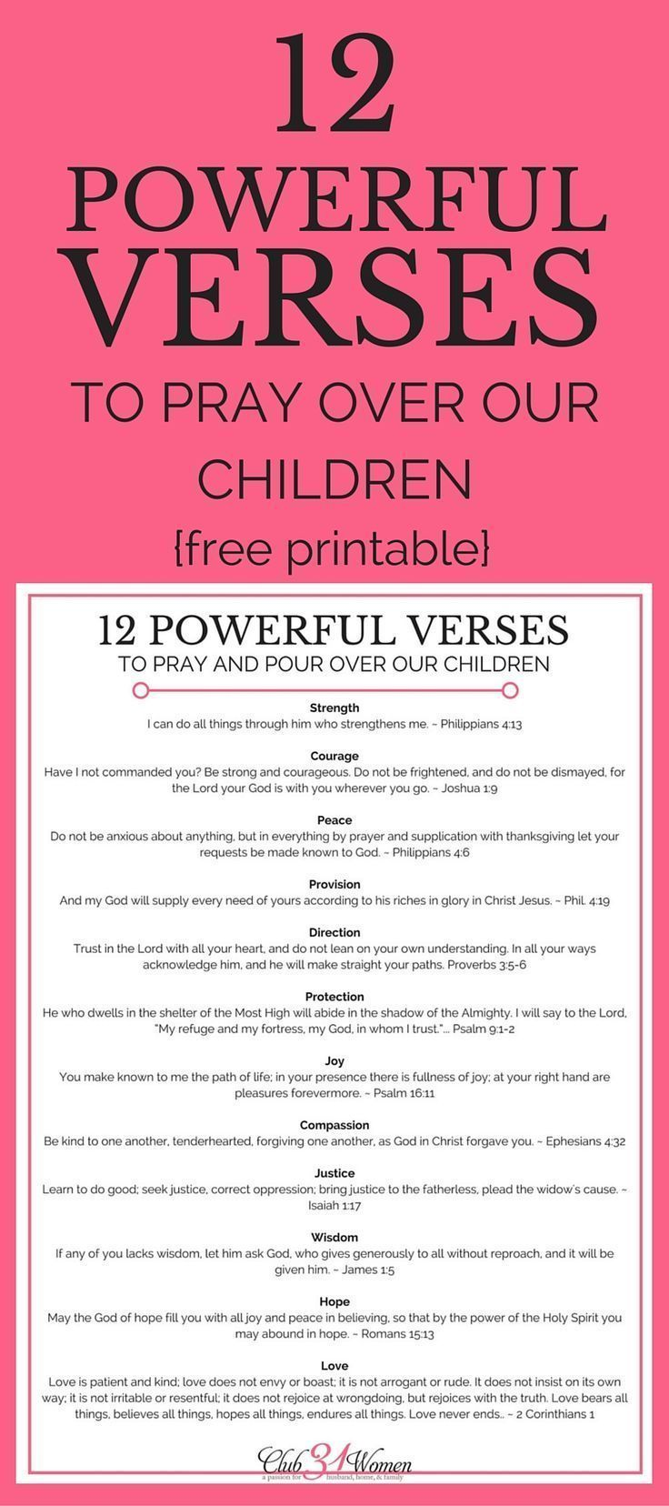 Powerful Verses to Pray Over Our Children {with free printable Whether you're a