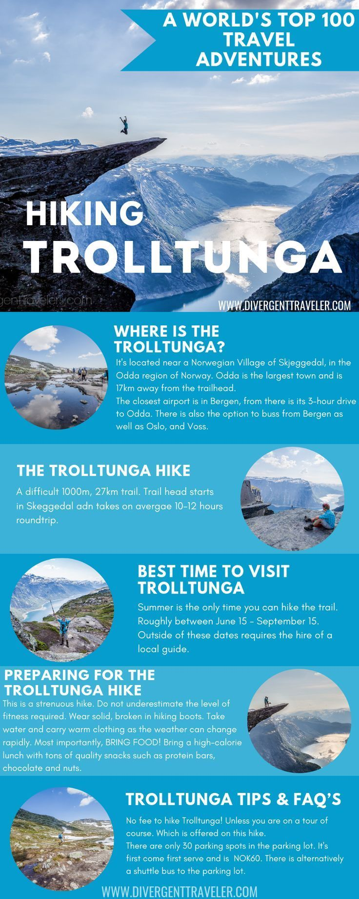 Hiking Trolltunga in Norway Adventure Travel Guide by America's Adventure Travel Couple the DivergentTravelers. With this guide to the Trolltunga Hike in Norway, you will find yourself prepared and ready to conquer the route in no time at all. Carry on reading for detailed information on location, the best time to go, what to take with you and importantly, what to expect on the hike itself. #HikingGuide #Norway #Troltunga #AdventureTravel #Planyourtrip #Travelguide #Hiking #Outdoors