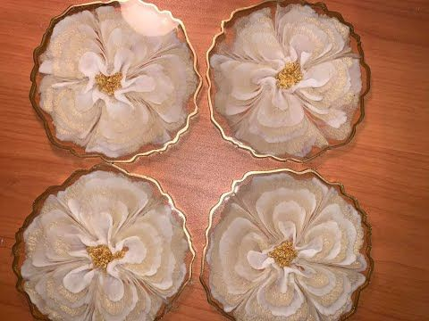 WOW 🤩 Successful 3-D resin metallic flower coaster
