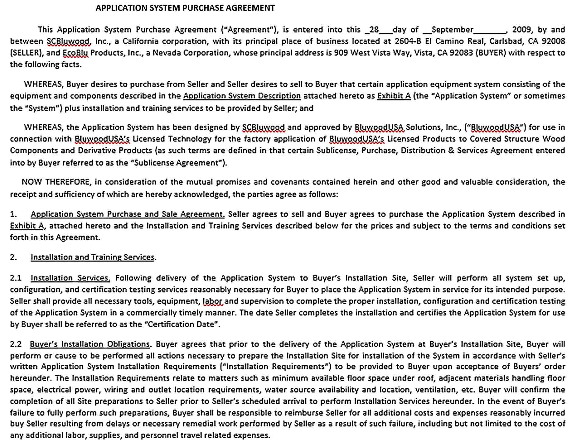 Sample Equipment Purchase Agreement Template