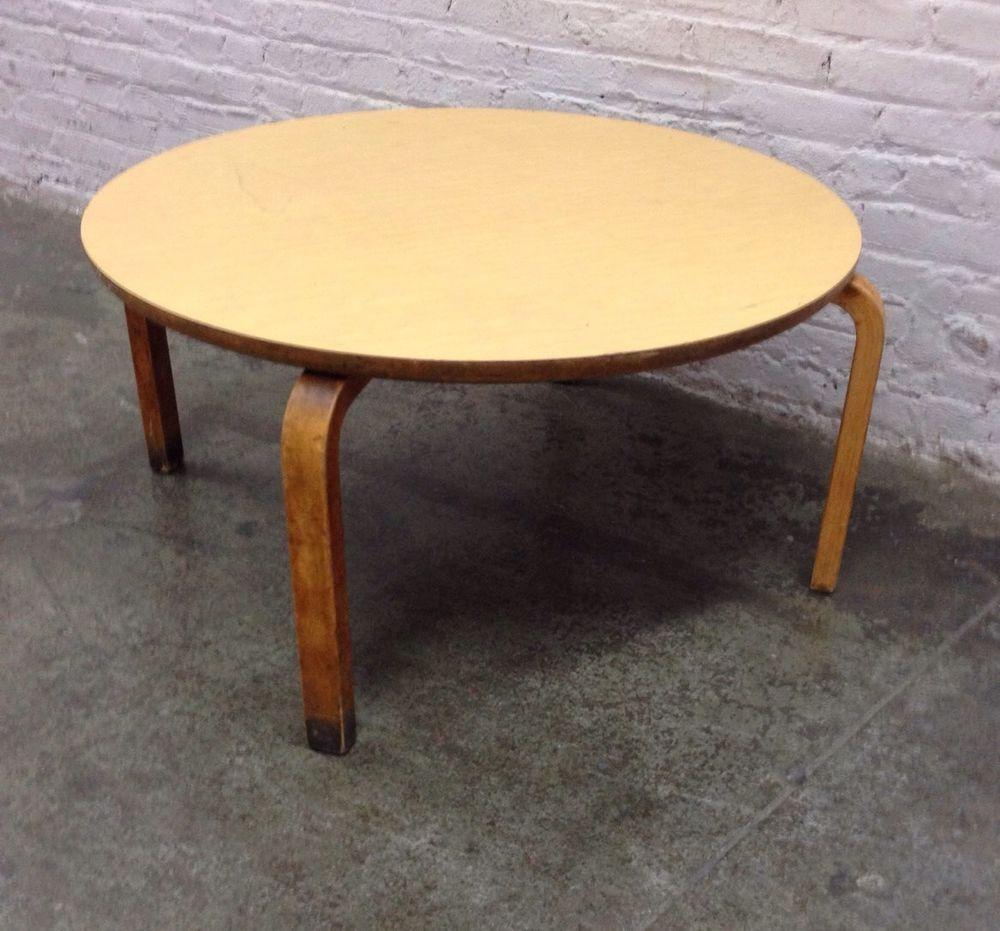 "vintage original thonet mcm light tone plywood bentwood 36"" round"