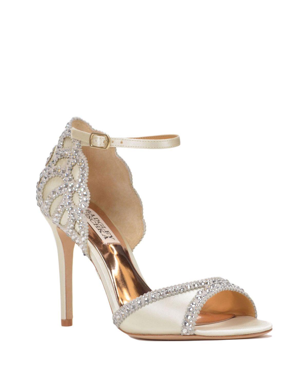 3222cab93d0 No. 1 Jenny Packham Designer ivory diamant trim high sandals- at ...