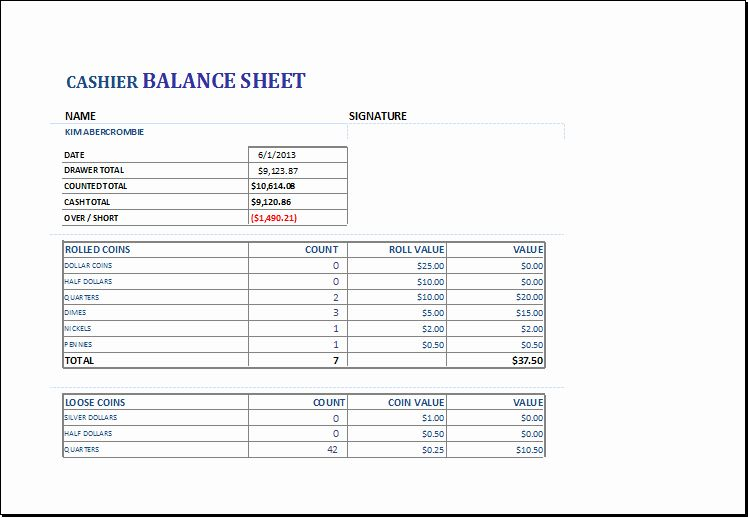 End Of Day Report Template Luxury Cashier Balance Sheet Template For Excel Balance Sheet Balance Sheet Template Business Budget Template