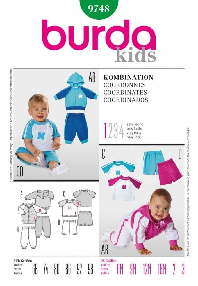 Free UK P&P - Burda Toddlers Easy Sewing Pattern 9748 Top, Hoodie ...