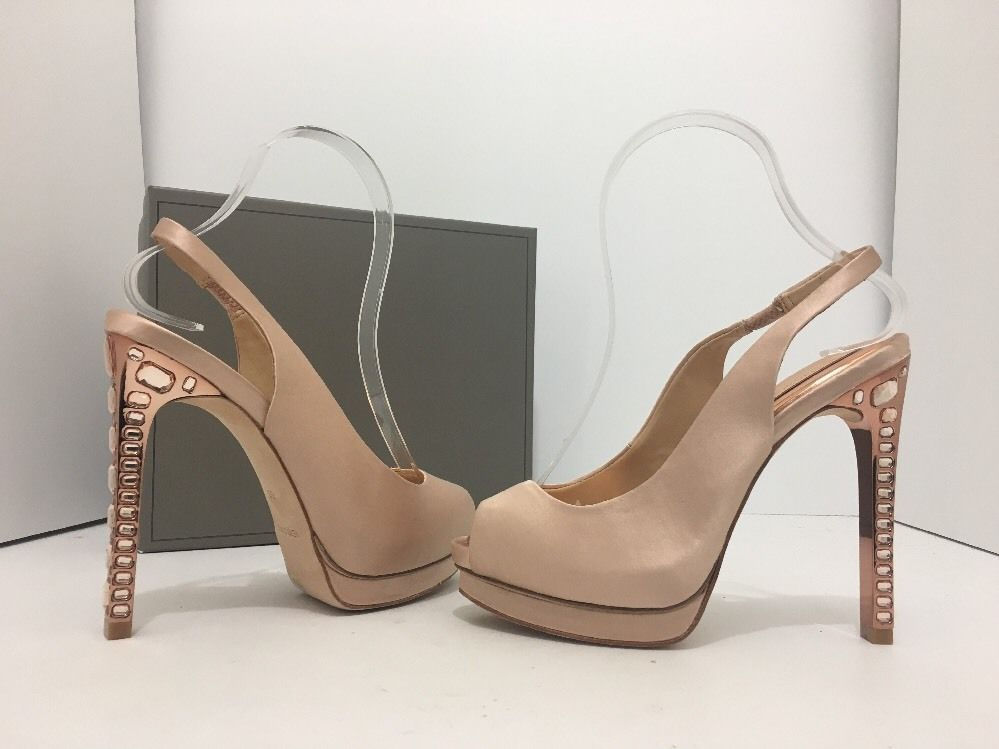 a45308859 BCBG Max Azria Ramsey Blush Satin Womens Platform Slingback High Heels  Sandals 6  BCBGMaxAzria  PlatformHighHeelsSlingbackSandalsPeepToe   CasualEvening