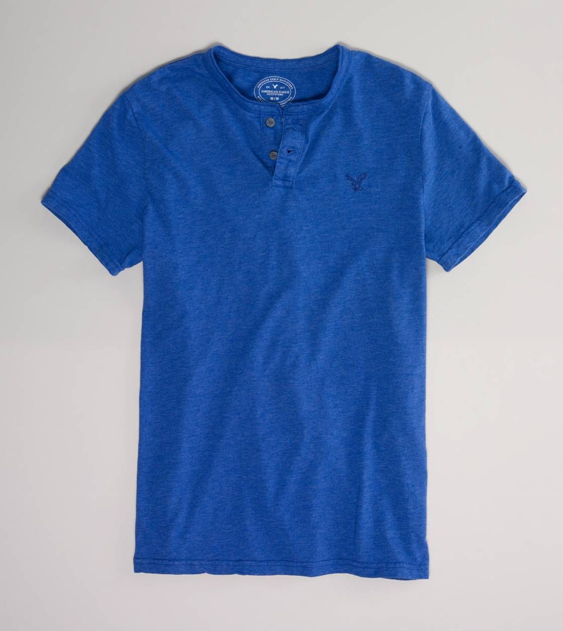 AE Legend Henley T    Any color, small logo, solid color.  long or short sleeve.  no v-neck please.   Large