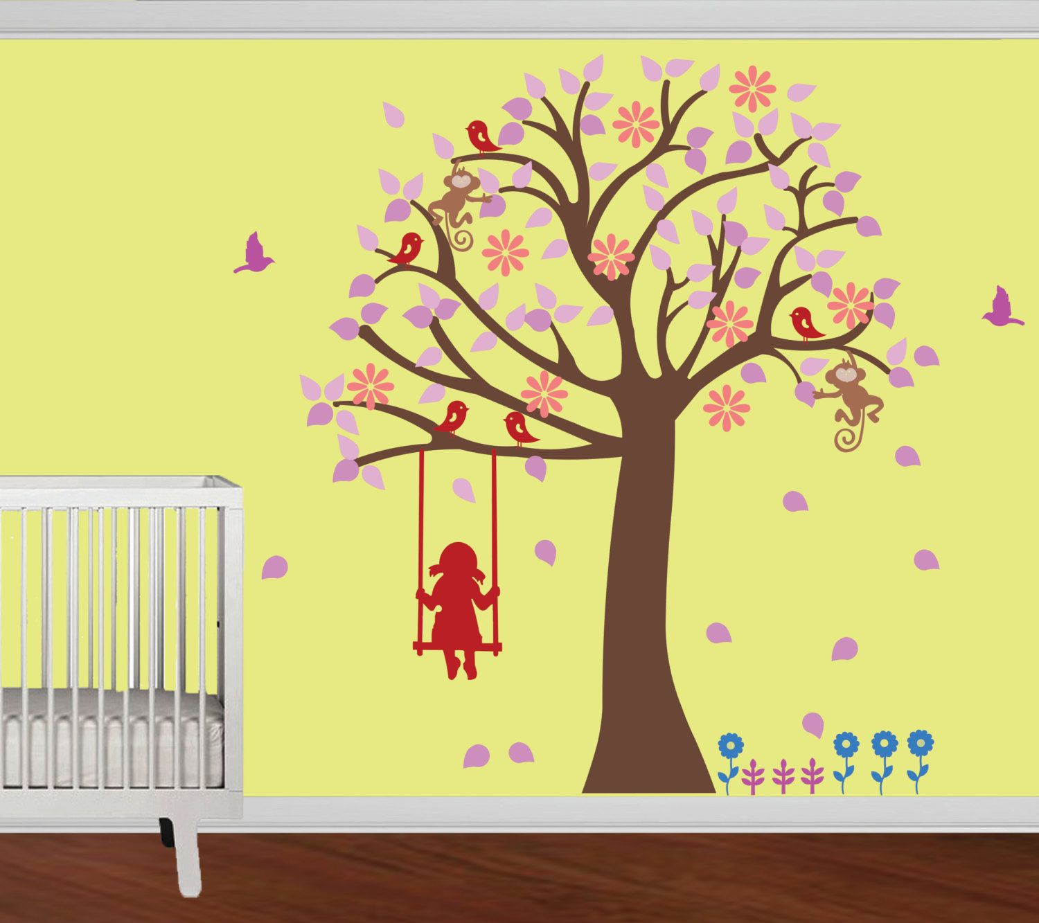 Nursery wall decal- Modern cute baby room- Tree wall sticker Wall ...