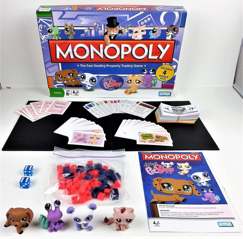 Monopoly Littlest Pet Shop Edition 2008 Board Game Lps 4 Unique Pets Complete Pop Tarts Snack Recipes Trading