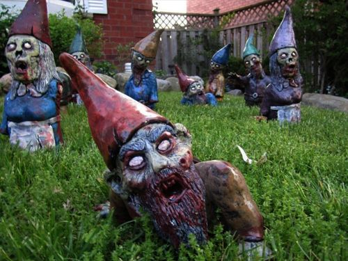 Zombie gnomes! As if the regular gnomes weren\'t creepy enough ...