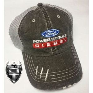 DieselTees- Power Stroke Diesel Denim Distressed Hat | Available at www.DieselTees.com #dieseltees #powerstroke #diesel #hat