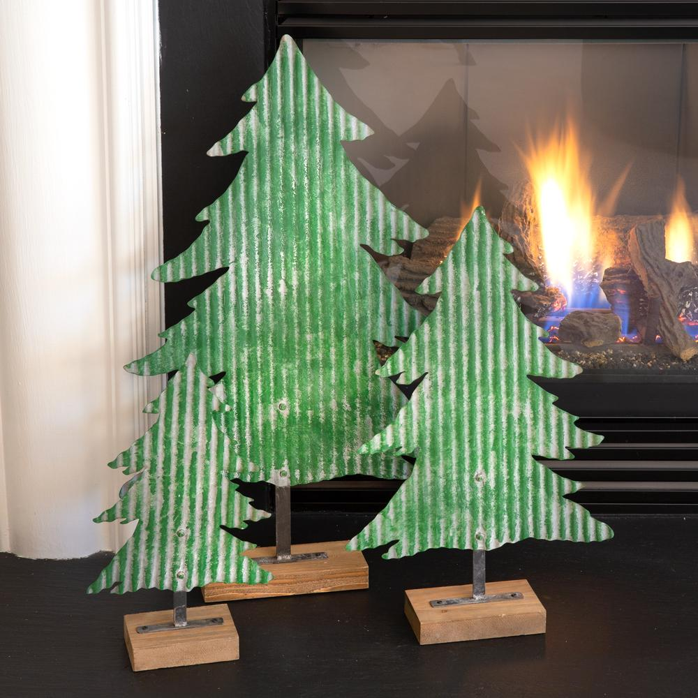 Scratch /& Dent Rustic Galvanized Metal Cutout Christmas Tree 17 inch Tall