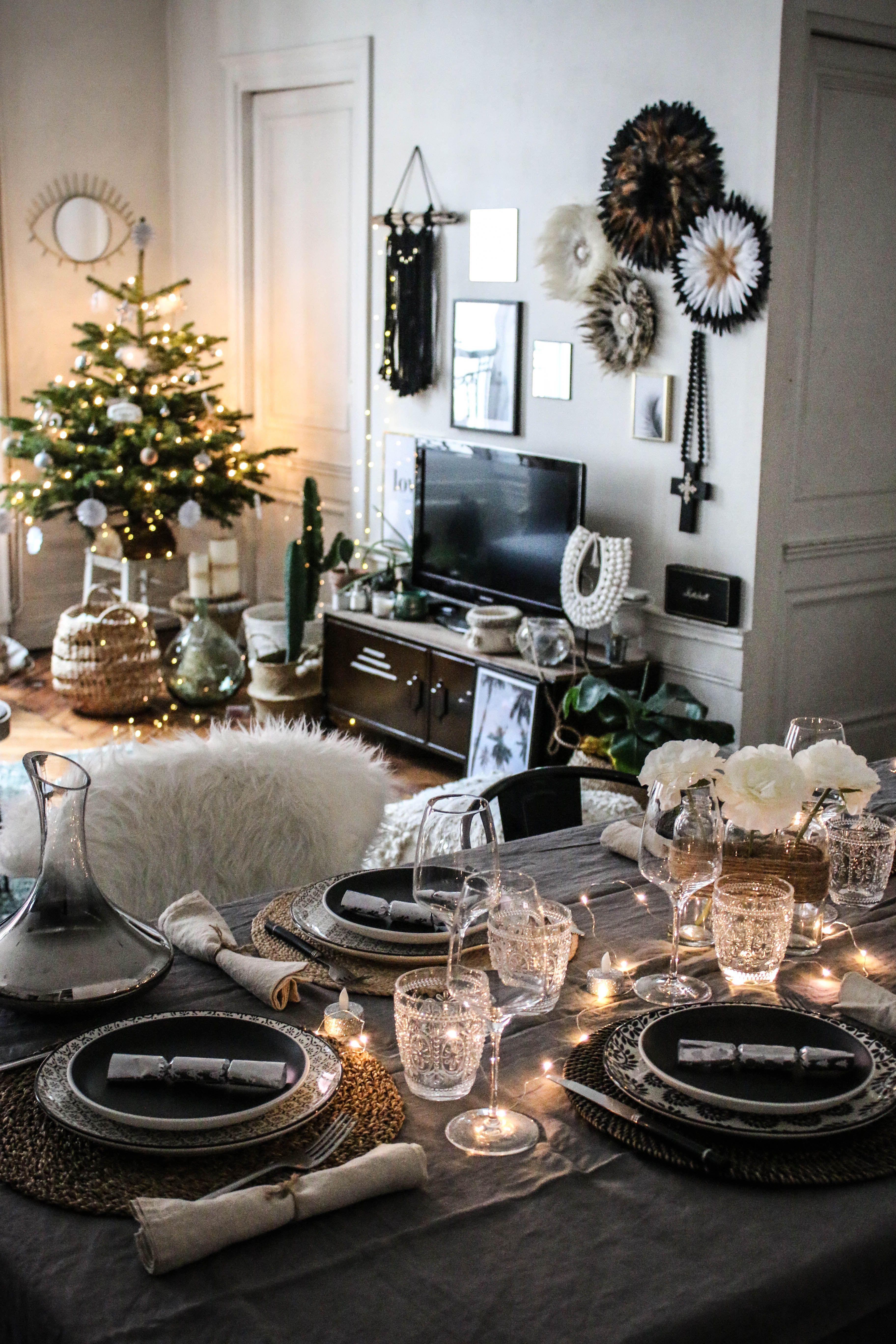 Inspiration pour une table de Noël dans le style bohème