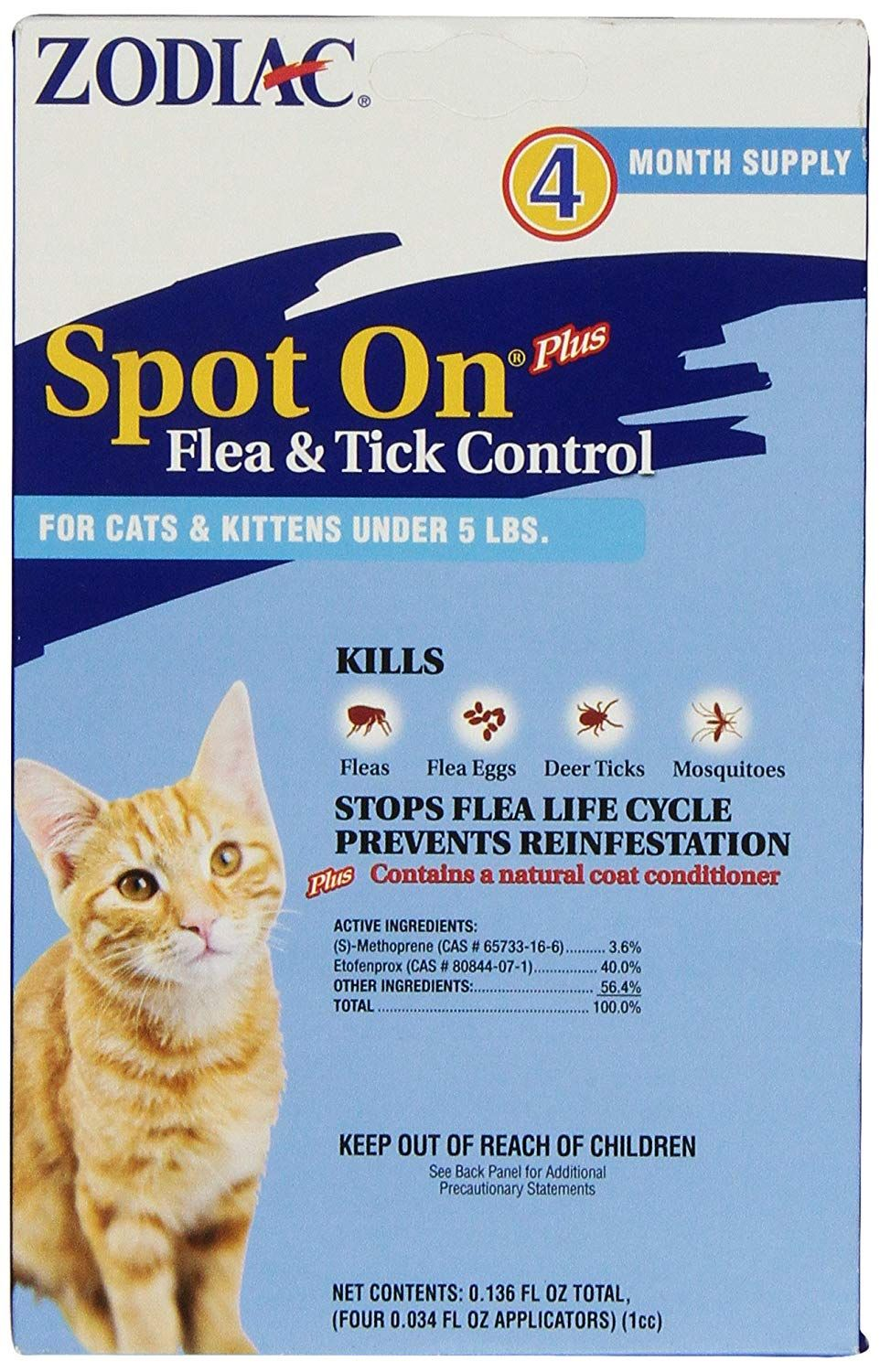 Zodiac Spot On Plus Flea And Tick Control For Cats And Kittens Under 5 Poundsr 4 Month Supply More Info Cou Tick Control Flea And Tick Flea Control For Cats