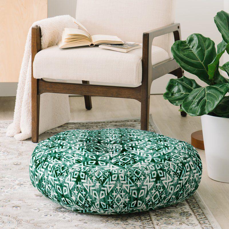 Little Arrow Design Moroccan in Emerald Round Floor Pillow