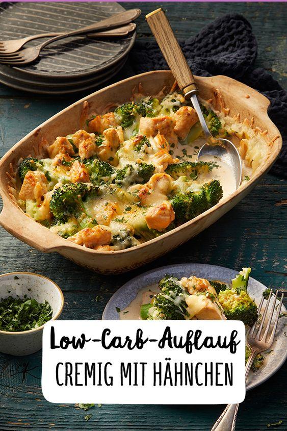 Cremiger Low-Carb Brokkoli-Auflauf mit Hähnchen