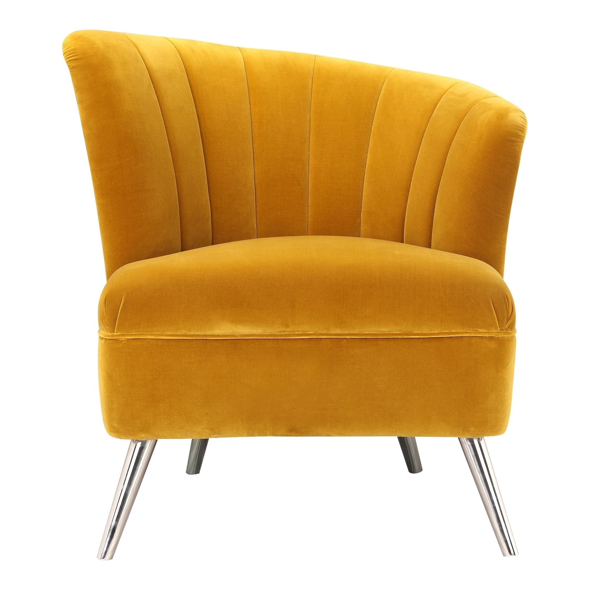 Aurelle Home Retro Inspired Yellow Accent Chair Right Silver
