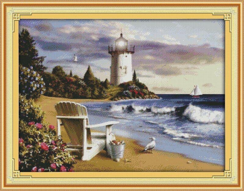 Pre Printed Cross Stitch kit DIY Seaside Landscape Pattern for Children Gift