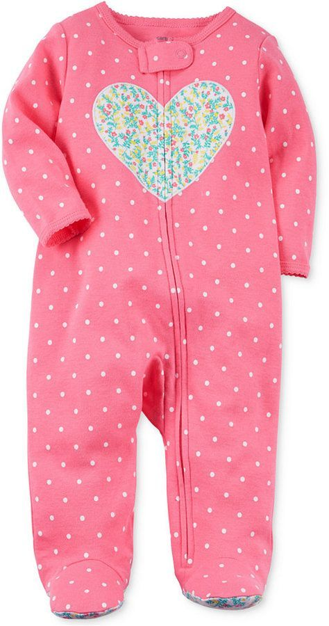 d85c27f07d5d Carter s Baby Girls Dot-Print Heart Cotton Footed Coverall - Pink 3 ...