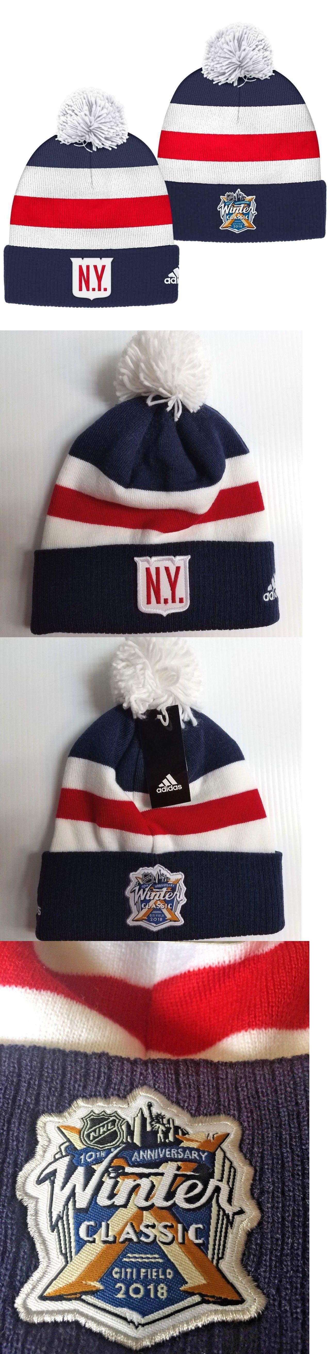 Hockey-NHL 24510  New York Rangers Adidas 2018 Nhl Winter Classic Goalie  Pom Knit Hat -  BUY IT NOW ONLY   49.95 on eBay! 3075aa616fe