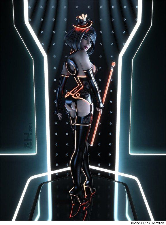 TRON-style pin-up girl by Andrew Hickinbottom