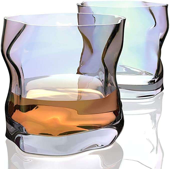 Amazon Com Amesser Whiskey Glasses Old Fashioned 9 Ounce Set Of 2 Lead Free Handblown Crystal Whisky Tumbler For Bou Whiskey Glasses Whisky Tumbler Whisky
